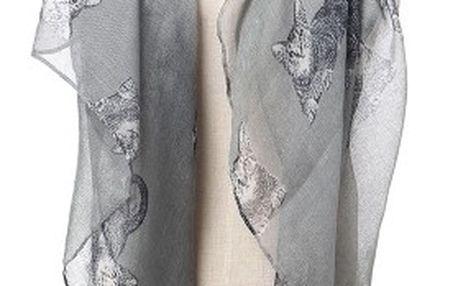 Dámský šátek s motivy koček - šedá - dodání do 2 dnů