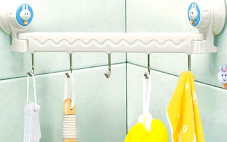 Věšák do koupelny nebo kuchyně s motivem zajíčka - 5 háčků