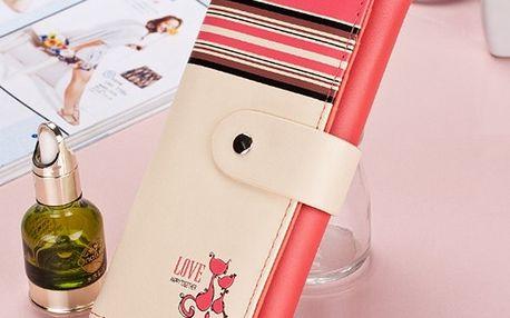 Moderní dámská peněženka s kočičkami - melounově červená - dodání do 2 dnů