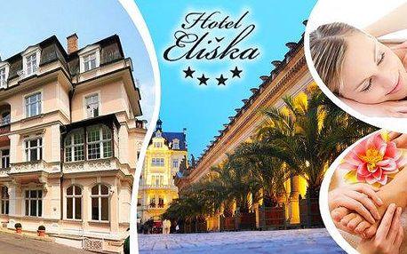 Exkluzivní wellness pobyt prodva na 3 dny v luxusním hotelu Eliška**** v centru Karlových Varů! S vynikající bohatou polopenzí, masáží zad a šíje, reflexní masáží chodidel, lymfodrenáží, odpoledním čajem, slevou na ostatní procedury, parkováním v ceně a