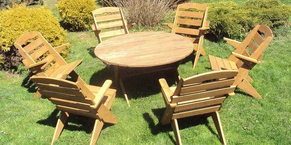 Zahradní set kruhový + 6 židlí - Přírodní - lak