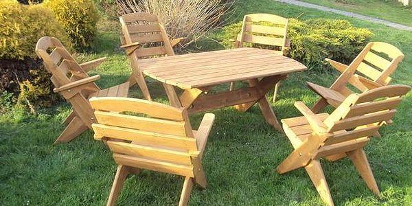 Zahradní set obdélníkový + 6 židlí - Dub - lak