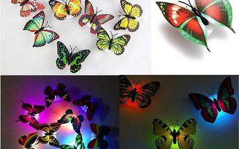 Nástěnná noční LED lampička - Motýl - poštovné zdarma