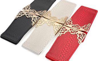 Dámský široký pásek s potiskem hadí kůže - poštovné zdarma
