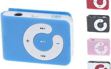 Mini MP3 přehrávač s klipem na microSD karty - 5 barev na výběr