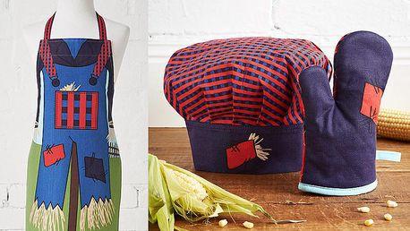 Dětská sada zástěry, čepice a kuchyňské rukavice Scarecrow