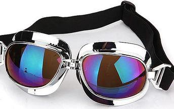 Motorkářské brýle stříbrné - barevná skla