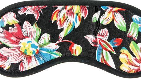 Maska na spaní černá květiny