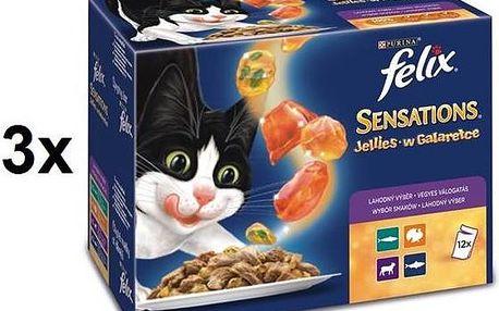 Felix Sensations výběr v ochuceném želé 3 x (12 x 100g)