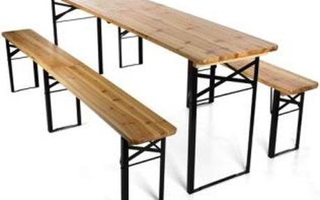 Skládací pivní set 220 x 50 x 25 cm   3 nohy na lavici