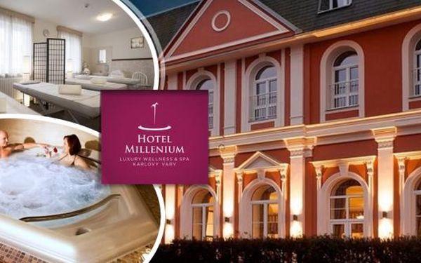 Luxusní pobyt v Karlových Varech v Hotelu Millenium**** pro 2 osoby na 3 dny s vynikající polopenzí.Rozmazlováni budete v luxusních saunách, chůzí v Kneippově chodníku, whirlpoolem, relaxací v solné jeskyni nebo třeba oxygenoterapií či čokoládovou koupel