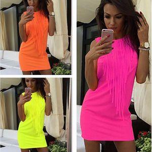 Dámské neonové šaty s třásněmi Eliza