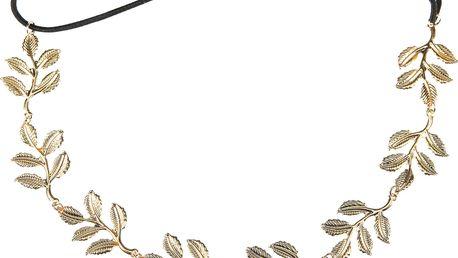 Fashion Icon Kovová čelenka s listy zlatá pružná