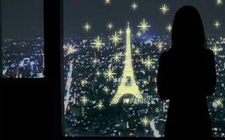 Samolepka na zeď - svítící Eiffelova věž - dodání do 2 dnů