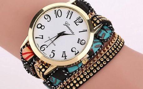 Vícevrstvé hodinky s řetízkem v mnoha barvách - černá - dodání do 2 dnů