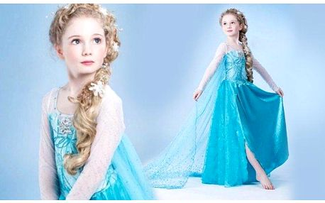 Dívčí šaty na maškarní bál podle šatů princezny Elsy z pohádky Ledové království