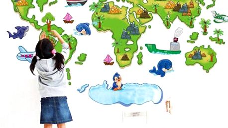 Samolepka na zeď - dětská mapa - dodání do 2 dnů