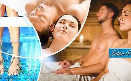 Až 120 min. wellness balíček pro 2 osoby: masáž, sauna, zábal + možnost Garra rufa