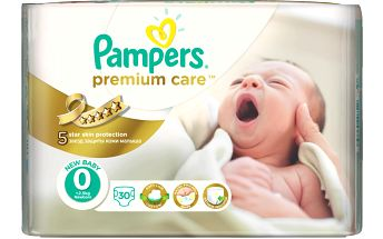 Pampers Premium Care 0 Newborn do 2,5kg, 30ks - jednorázové pleny