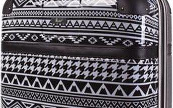 Černo-bílý vzorovaný cestovní kufr SKPA-T - doprava zdarma!