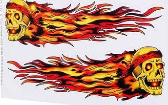 Nálepka na auto s motivem hořící lebky
