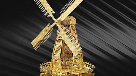 3D puzzle v podobě mlýnu - zlatá barva