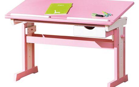 Cecilia - psací stůl růžovo/bílý