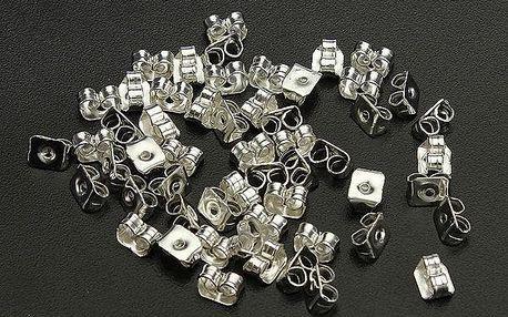 Zarážky na náušnice ve stříbrné barvě - 50 kusů - dodání do 2 dnů