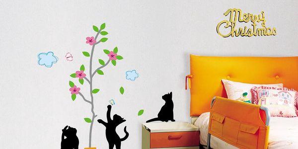 Samolepka MaDéco Black Cats and Tree
