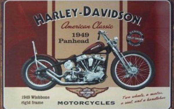 Plechová retro cedule s motocyklem - dodání do 2 dnů