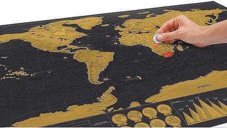 Seškrabávací mapa světa