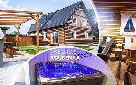 Pronájem Roubenky: 3 až 5 dní až pro 9 osob, sauna, vířivkav chatě. Platnost od září