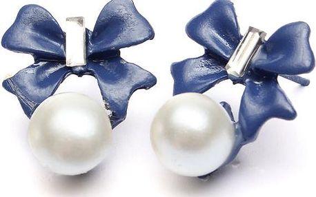 Náušnice - falešná perla s mašličkou