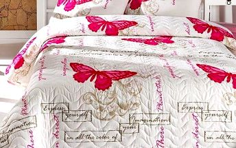 Sada přehozu přes postel a polštáře Cream, 160x220 cm