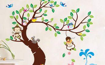 Samolepka Tree, Monkeys and Elephant