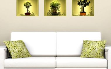 Sada 3 samolepek Ambiance s 3D efektem Ambiance Bonsai Trees On Spot