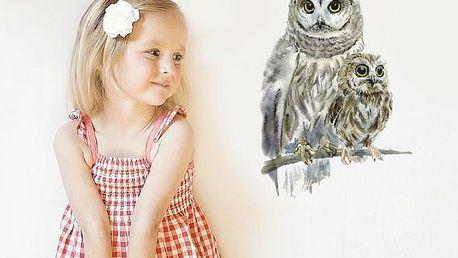 Znovu snímatelná samolepka Woodland Owls, 30x21 cm