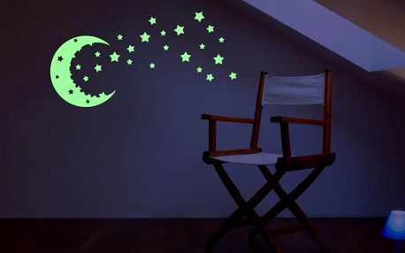 Samolepka svítící ve tmě Ambiance MaDéco Moon And The Stars