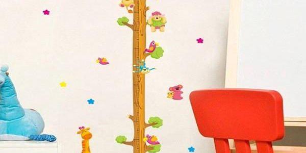 Dětský metr - samolepka na zeď strom se zvířatky - dodání do 2 dnů