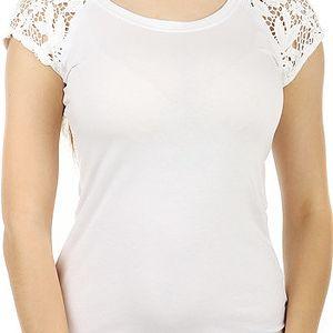 Zajímavé tričko s krajkovými rukávy bílá