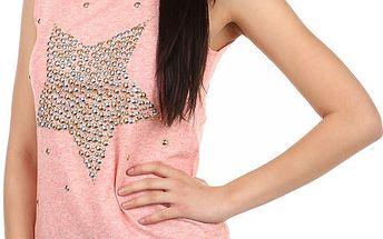 Stylové tričko s kamínkovým potiskem růžová