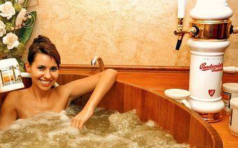 Pivní lázeň a relaxace v bazénu nebo sauně