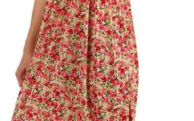 Květinové letní šaty červená