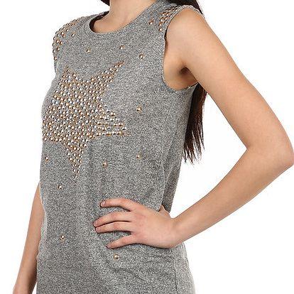 Stylové tričko s kamínkovým potiskem šedá