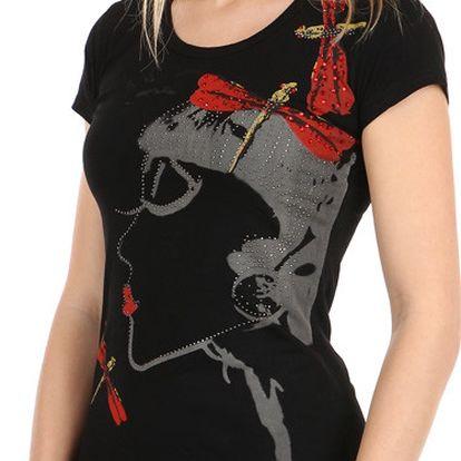 Dámské triko s avantgardním potiskem černá