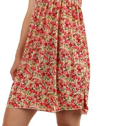 Květinové letní šaty světle růžová