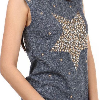 Stylové tričko s kamínkovým potiskem modrá