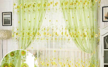 Zelená záclonka se slunečnicemi - dodání do 2 dnů