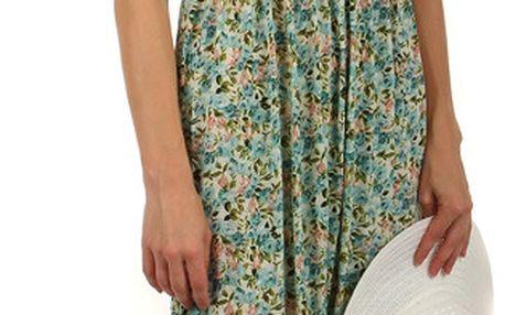 Květinové letní šaty se žabkováním světle modrá