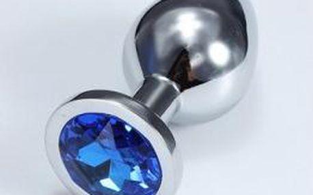 kovový anální kolík s barevným krystalem střední